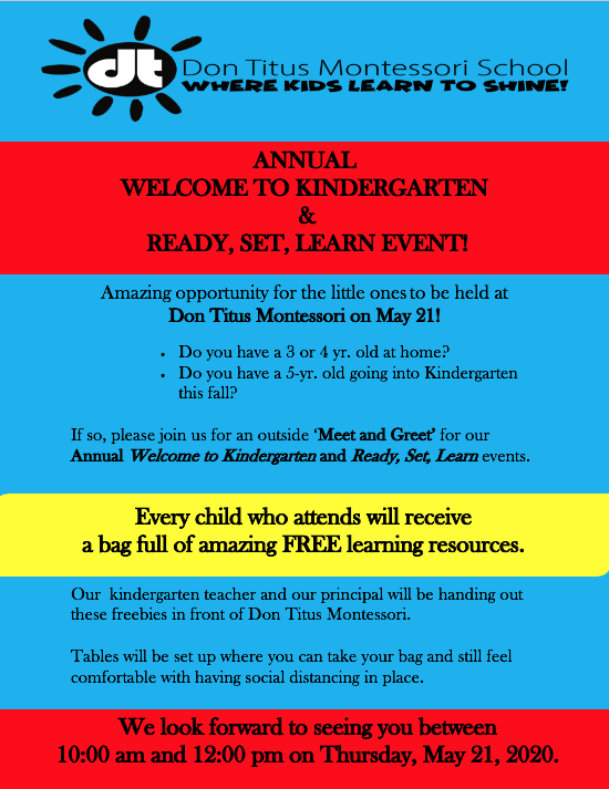 DTM Welcome to Kindergarten & Ready, Set, Learn Event on May 21, 2020
